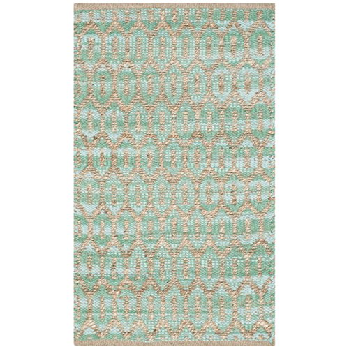 Safavieh Cape Cod Collection CAP864D Hand Woven Natural and Teal Jute and Cotton Area Rug (2'3