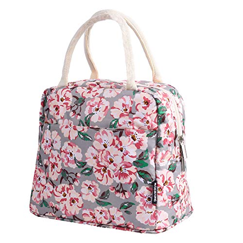 Bagbang Kids Lunch Box for Girls Women Reusable lunch Tote Bag Thermal Soft Cooler Bags for Picnic School Office Work with Large Capacity Fashion Flowers
