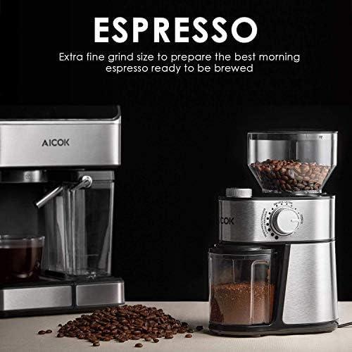 AICOK Molinillo de café eléctrico de 18 Grados Fino a Grueso ...