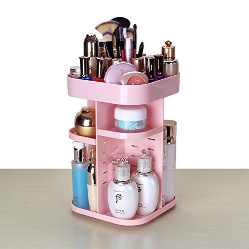 FLHSLY 360° rotating Cosmetic Adjustable Thicken Storage box Desktop Finishing Shelf Cosmetic case storage Artifact , Pink by FLHSLY