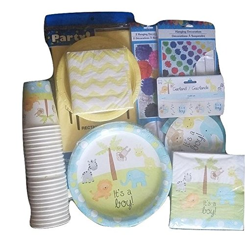 Baby Shower Party Decoration Set for Boy. All-in-One Bundle Kit with ''It's a Boy'' Plates, Napkins, & Garland. Animal Cups & Table Cloth Included. by Greenbrier International