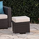 Great Deal Furniture Malibu Outdoor 16 Inch Multibrown Wicker Ottoman Seat with Beige Water Resistant Cushion For Sale