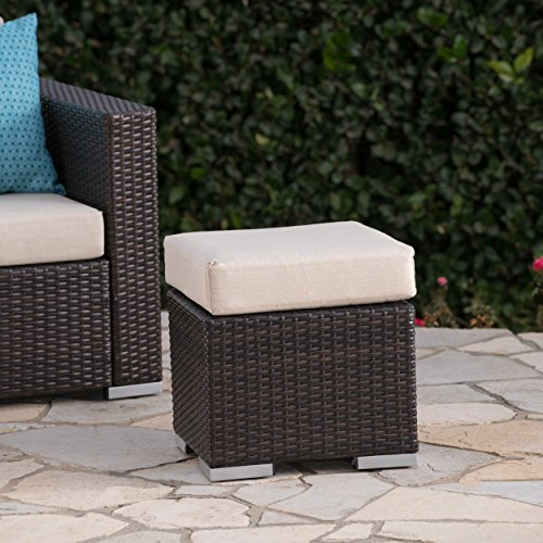 (Great Deal Furniture Malibu Outdoor 16 Inch Multibrown Wicker Ottoman Seat with Beige Water Resistant Cushion)