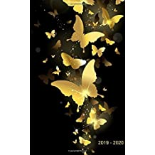 """2019 - 2020: Two-Year Monthly Pocket Planner: 24-Month Calendar , Notes and Phone book, U.S. Holidays, Size : 4.0"""" x 6.5"""", Hand Lettering book ( Cover: Golden Butterflies )"""