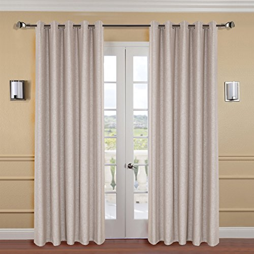 "IYUEGO 84"" W x 84"" L (Set of 1 Panel) Flame Retardant Curtain Classical Frosted Beige Solid Faux Linen Curtain, Grommet Room 85% Blackout Custom Window Treatments Draperies & Curtains Panels"
