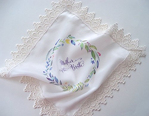 Silk wedding handkerchief with lace, wedding favor for guest of bride or groom