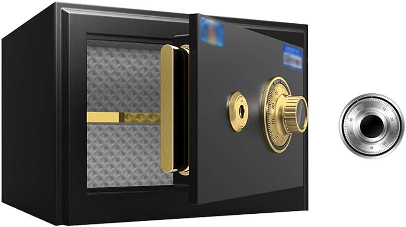 Caja Fuerte de Oficina con Cerradura mecánica Dormitorio del Hotel carrusel pequeña Caja de Seguridad Mesita de Noche para el hogar Caja Fuerte, 25 Alto Negro: Amazon.es: Hogar