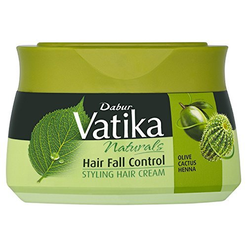 Dabur Vatika Naturals Hair Fall Control Styling Hair Cream with Olive, Cactus, and Henna Anti-Chute (7.10 fl oz) - Packaging may (Hair Loss Control Cream)