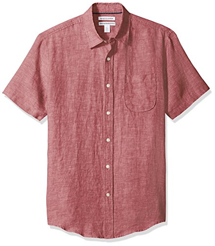 Amazon Essentials Men's Slim-Fit Short-Sleeve Linen Shirt, Red, Large