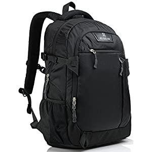 Business Laptop Backpack for 17 Inch Notebook for Travel and Commute with Bottle Holders and Lots of Pockets Water Resistant Large Padded Soft Ergonomic Light Professional Black Red