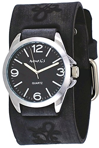 Nemesis #VF221K Floral Charcoal Black Wide Leather Band Brown Dial Analog Watch