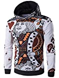 XQS Men's Fashion Hoodies Poker Patterns Pullover Sweatshirts White US L