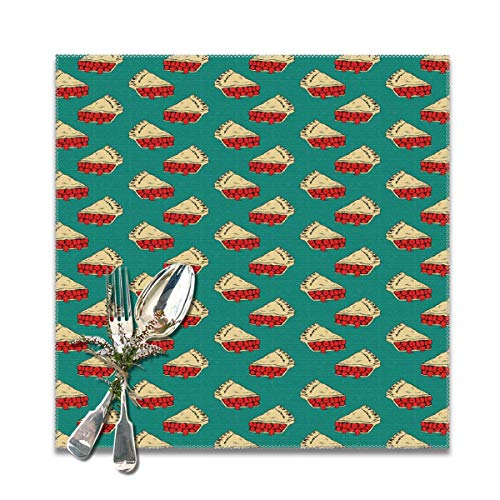 JML-LUV Pie Mint Placemats Set of 6/4 for Dining Table Washable Non-Slip Wear and Heat Resistant Kitchen Table Mats Easy to Clean, 12x12 in