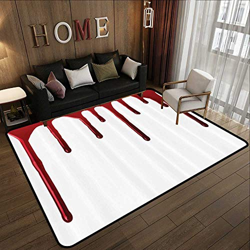 Kitchen Floor mats,Bloody,Flowing Blood Horror Spooky Halloween Zombie Crime Scary Help me Themed Illustration,Red White 59