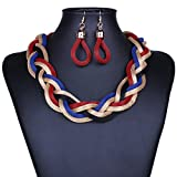 SDLM Fashion Bright Knit Rope Chunky Choker Charm Necklace dangle Earrings Jewelry Set