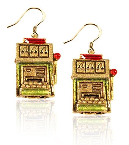 Whimsical Gifts Casino Charm Earrings (Slot Machine, Gold)