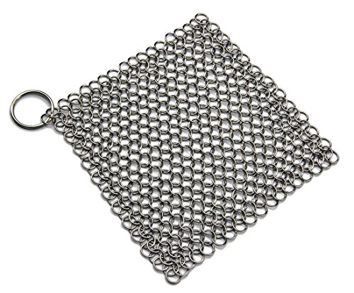Haiwa Cast Iron Cleaner Stainless Steel Chainmail Scrubber (XL 8x6 Inch)