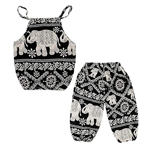 Baby Girls Boho Elephant Tops Harem Pants 2 Piece Outfits Black 130