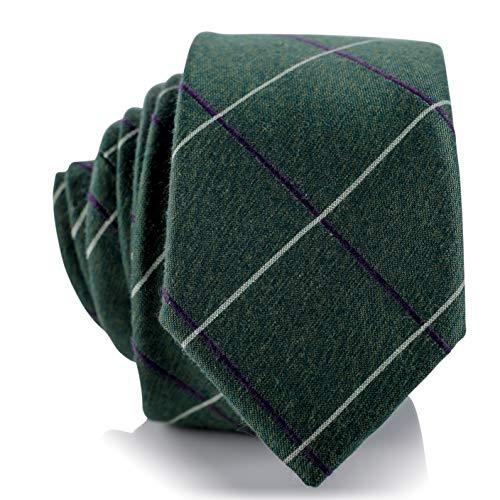 Fly & Dapper Handmade Green Plaid Pattern Men's Necktie | 2.5