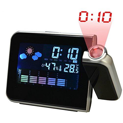 Forecast Led (Creative Digital LCD Screen Color Display LED Back-light Projector Snooze Alarm Clock Weather Station Forecast Calendar clock)