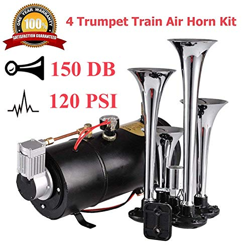 Aceshin 4 Trumpet Vehicle Air Horn with 12 Volt Compressor and Hose 150 dB Train 120PSI Kit Set ()