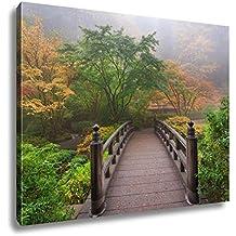 Ashley Canvas Moon Bridge In Foggy Fall Morning, Wall Art Home Decor, Ready to Hang, Color, 16x20, AG6103495