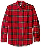 Amazon Essentials Men's Regular-Fit Long-Sleeve Plaid Flannel Shirt, Red/Yellow, Small