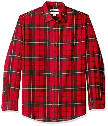 (Amazon Essentials Men's Regular-Fit Long-Sleeve Plaid Flannel Shirt, Red/Yellow,)