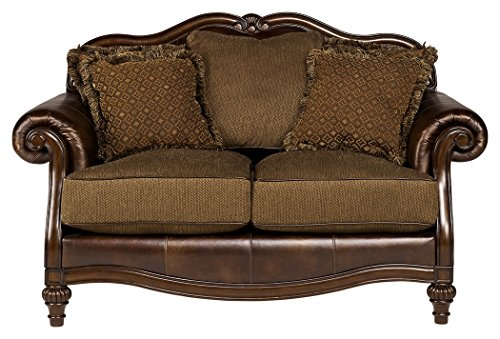 Ashley Furniture Signature Design – Claremore Sofa Loveseat with 5 Accent Pillows – Traditional Style with Ornate Feet – Antique Brown