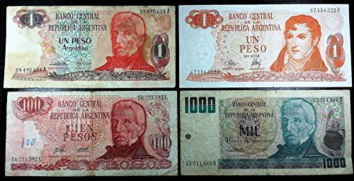 One Peso Note - Argentina: Collection of 4 Notes 1, 1, 100, 1000 Pesos ◢ Free Combined S/H ◣