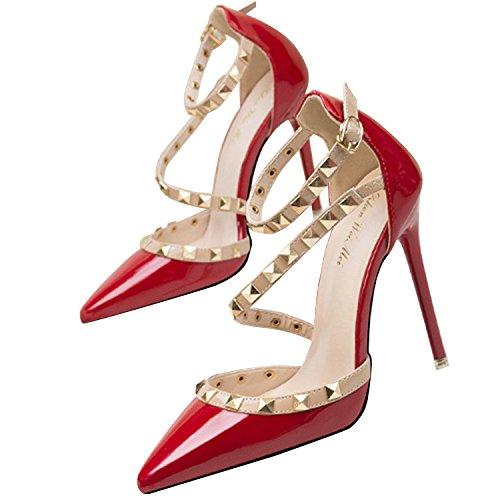 Oasap Femme Chaussure A Talons Hauts Rivet Décoration Talons Aiguilles Bout Fermé Red-1 lcdDC
