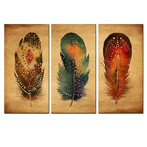 sechars - Feather Canvas Wall Art,3 Panels Vintage Feathers Wall Painting Art for Living Room Bedroom Wall Decor,Watercolor Giclee Print Framed Ready to ()