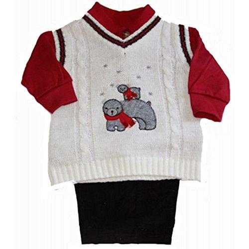 Good Lad Baby-boys Newborn Bear Sweater Pant Set, White, 6/9 Months