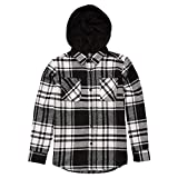 Volcom Boys' Big Shader Hooded Long Sleeve Flannel Shirt, White, Large