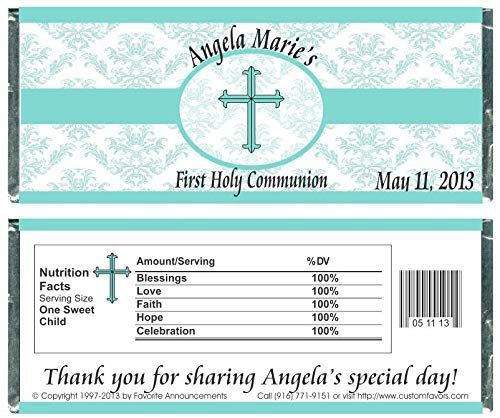 - Damask First Holy Communion Candy Bar Wrappers, Personalized (set of 12)(W707)