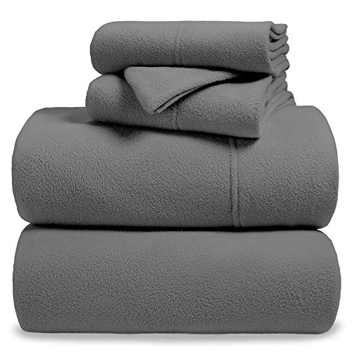 Bare Home Fleece Super Soft Premium Sheet Set - Extra Plush Pill-Resistant All Season Cozy Breathable Hypoallergenic (Full XL, Grey)