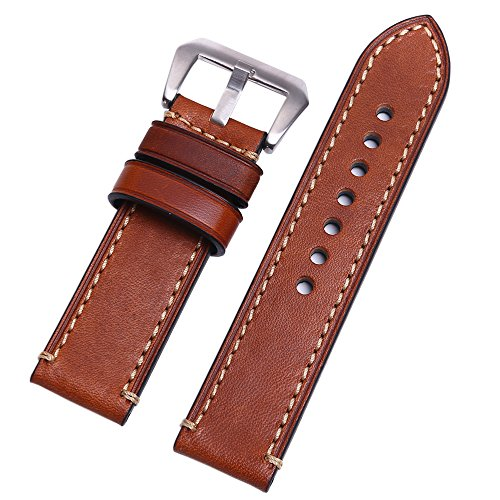 EACHE Vegetable Tanned Leather Handmade Watchband Silver Hardware Watch Strap 22mm Light Brown