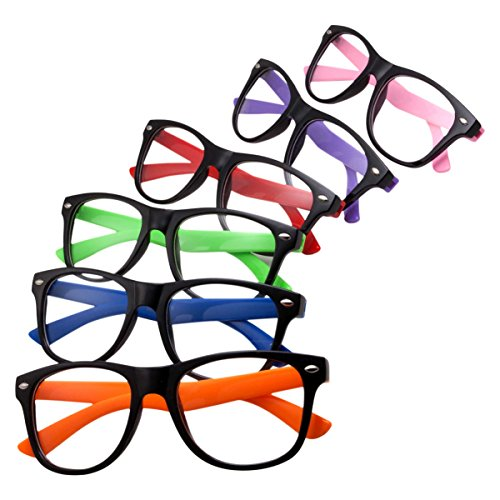6 Pack Bulk Children Pretend Glasses for Kids Fun Toy Costume Clear Lens (Ages 3-10)