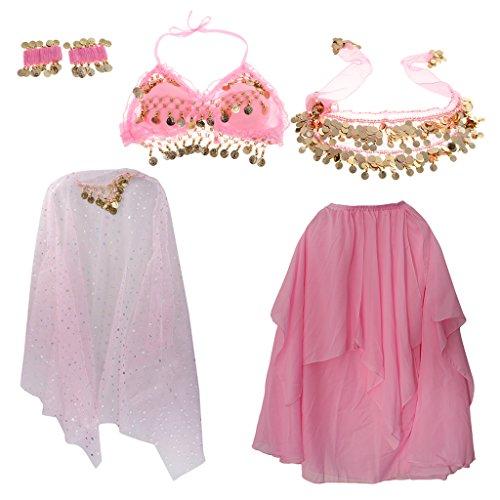 Bollywood Themed Costumes (Fenteer Kids Belly Dance Costume 5/set Coin Tassel Dress Girls Carnival Bollywood Fancy Dress - Pink, S)