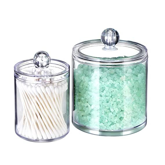 Qtip Dispenser Holder Bathroom Vanity Organizer Apothecary Jars Canister Set for Cotton Ball,Cotton Swab,Q-tips,Cotton Rounds,Bath Salts,Premium Quality Plastic Acrylic Clear | 2 Pack,10 Oz. & 20 Oz. - ✅ BEATIFUL AND FUNCTIONAL: The 10oz. & 20 Oz. Apothecary Jars set combine BEAUTY with organization. The 10oz. jar is perfect for qtips,the 20 oz. jar is perfect for bathroom vanity organizer, such as cotton ball,cotton rounds,bath salts, makeup sponges,rubber bands,needles,etc. ✅ SIMPLE AND EASY TO USE: Each apothecary jar has a removable acrylic lid and a wide mouth to make accessing bathroom vanity simple.They are easy to clean and can also provide the vanity become wet in the bathroom because of the humidity ✅ MAKING HOME A BETTER SPACE:The canister set is also clear plastic jars, modern design, functional yet decorative,not just for the bathroom, also PERFECT in the kitchen or living room - organizers, bathroom-accessories, bathroom - 51AckVDRTwL. SS570  -