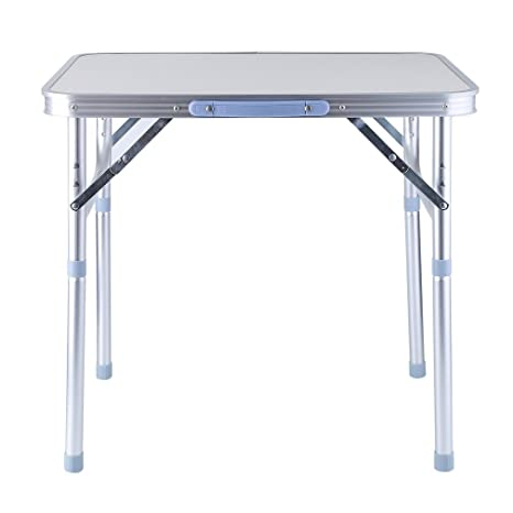 Coldcedar 24 Inch Portable Height Adjustable Aluminum Folding Camping Table  With Carrying Handle For Camping/
