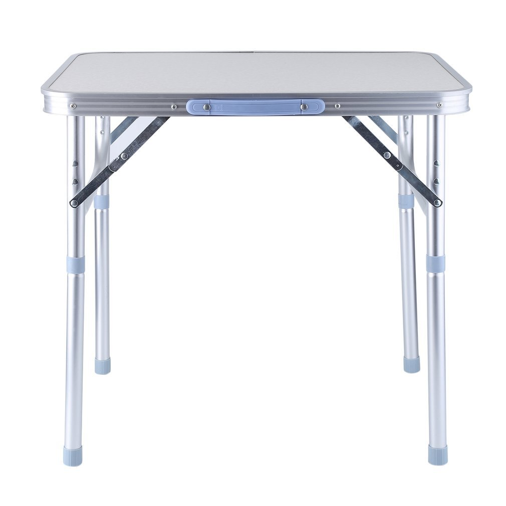 Coldcedar 24 inch Portable Height Adjustable Aluminum Folding Camping Table With Carrying Handle for Camping/Picnic/Working/Garden/Hiking/Beach/BBQ/Party, Silver