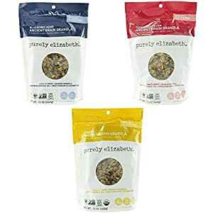 Purely Elizabeth Ancient Grain Granola Variety 3 Pack Original + Cranberry Pecan + Blueberry Hemp