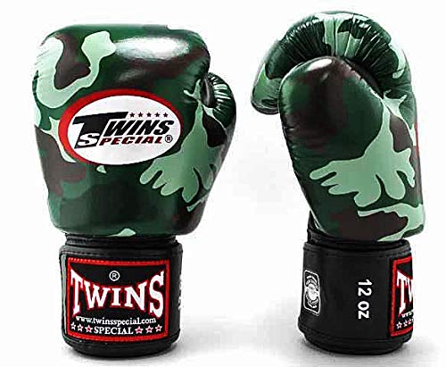 - Twins Special Boxing Gloves BGVL3 Leather MMA UFC Muay Thai Kick Boxing K1 Karate Training Punching Gloves (Camo-Green, 16oz)