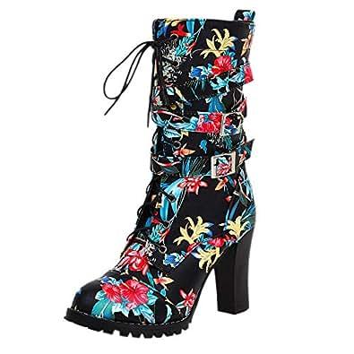 JOJONUNU Women Fashion Short Boots High Heels Lace Up Boots Round Toe Stiletto Heels Boots Black Size 33 Asian