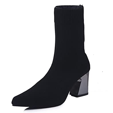 055adfb6b7b2 Yehopere Womens Sock Boots Block High Heel Booties Pull On Sexy Pointed Toe Ankle  Boots
