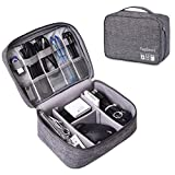 Electronic Organizers USB Storage Bag Waterproof Multi-fonction Large Capacity Accessories Cable Organizer Bag for Cables, Memory Cards, Flash Hard Drive and More, Fit for iPad or Tabl (L, fancy-Grey)