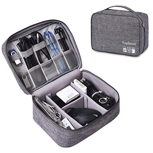 Universal Electronics Accessories Organizer, Waterproof Portable Cable Organizer Bag,Travel Gear Carry Bag for Cables (L, Fancy-Grey)