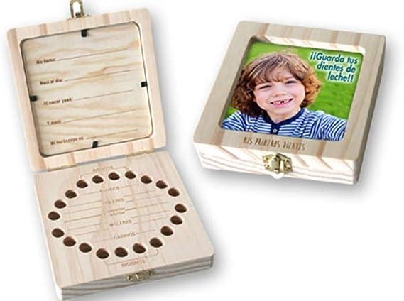 Caja de madera con portafoto para guardar los dientes de leche. Unisex. Para bebés, niños. Dakota. 1 unidad: Amazon.es: Bebé