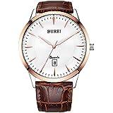 BUREI Classic Men's Quartz Watch Big Anolog Dial with Date Calendar Soft Leather Strap & Stainless Steel Band (BM-3005-P03ARXG)